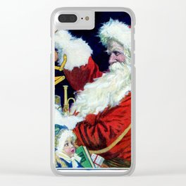 Santa Claus preparing to deliver toys Clear iPhone Case