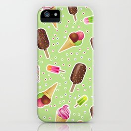 Ice cream party, chockolate, sweets desserts polka dots green pattern iPhone Case
