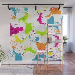 colorful paint blots Wall Mural