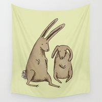 bunnies Wall Tapestries featuring Two Bunnies by Sophie Corrigan