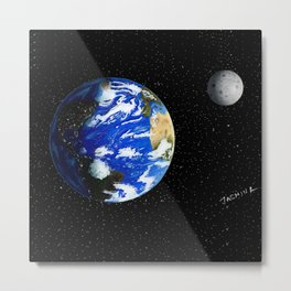 Drawing the Earth and the Moon Metal Print