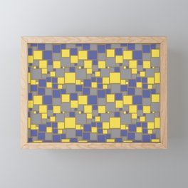 Gray Yellow Brown Blue Funky Mosaic Pattern V13 Pantone 2021 Colors of the Year & Accent Shades Framed Mini Art Print