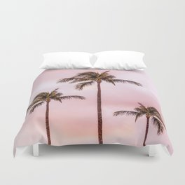 Palm Tree Photography | Landscape | Sunset Unicorn Clouds | Blush Millennial Pink Duvet Cover