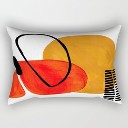 Mid Century Modern Abstract Vintage Pop Art Space Age Pattern Orange Yellow Black Orbit Accent Rectangular Pillow