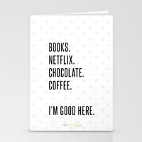 netflix Stationery Cards featuring books, Netflix, chocolate, coffee. by Okay Creations