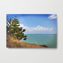 Pine Tree on a Headland with Topical Ocean Metal Print
