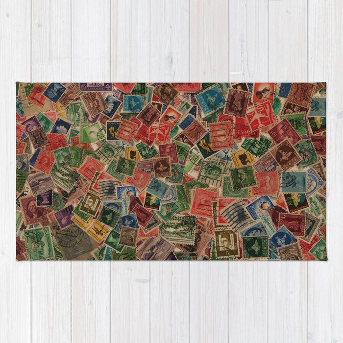 Vintage Postage Stamps Collection Rug