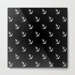 Anchor black pattern Metal Print