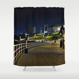 View of Plymouth Hoe at Night / Early Morning Shower Curtain