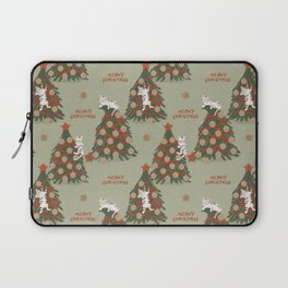 Meowy Christmas, Cats on Xmas Decorated Trees, Vintage Colors, Hand-painted Festive Winter Holiday Fun Cat Pattern Laptop Sleeve