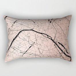 Paris France Minimal Street Map - Rose Gold Glitter on Black Rectangular Pillow