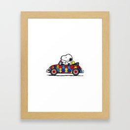 Snoopy drives a car Framed Art Print