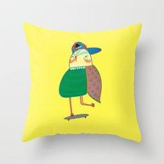 Skateboarding Owl. Throw Pillow