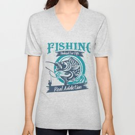 Fishing Hooked for Fife Real Addiction Unisex V-Neck