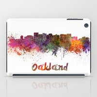oakland iPad Cases featuring Oakland skyline in watercolor by Paulrommer