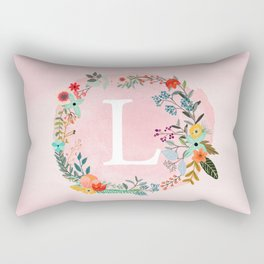 Flower Wreath with Personalized Monogram Initial Letter L on Pink Watercolor Paper Texture Artwork Rectangular Pillow