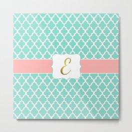 """Mint + Peach Coral Quatrefoil with Gold """"E"""" Monogram Metal Print"""