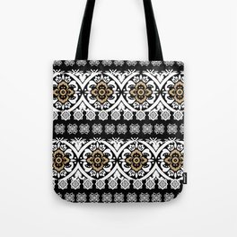 Modern black white faux gold glitter motif pattern Tote Bag