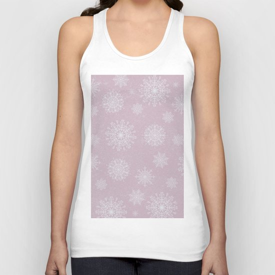 Assorted Snowflakes On Pink Background Unisex Tank Top