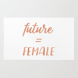 The Future is Female Pink Rose Gold on Black Rug