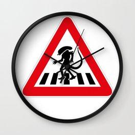 Alien Crosswalk Sign 2 Wall Clock