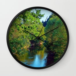 A summer evening along the river III   waterscape photography Wall Clock