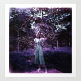 Lost Girl in the Lavendar Leaves - Double Exposure Film Photograph  Art Print