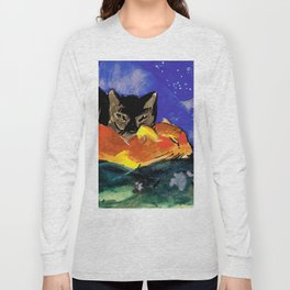 Franz Marc - Two Cats, postcard from Sindelsdorf to Lily Klee Munich Long Sleeve T-shirt