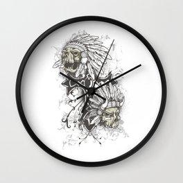 Native American Chief Skulls Wall Clock