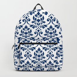 Feuille Damask Pattern Dark Blue on White Backpack