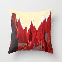 A Stone Age Landscape Throw Pillow