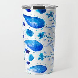 Boho china blue mandala floral watercolor pattern Travel Mug