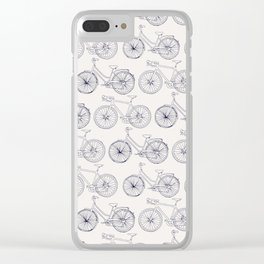 Bicycles pattern navy Clear iPhone Case