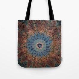 Beaded Floral Mandala Blues Tote Bag