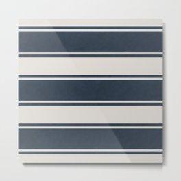 painted ticking stripe-navy Metal Print