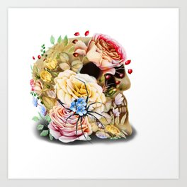 floral skull with special spider Art Print