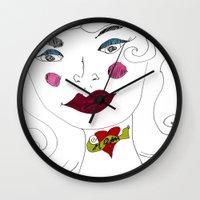 """mom Wall Clocks featuring """"MoM"""" by Holly Lynn Clark"""