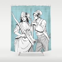 pirates Shower Curtains featuring Pirates by Art of Tom Tierney