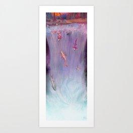 Waterfall koi fish (day-time version) Art Print
