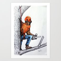 Arborist Tree Surgeon at work Art Print