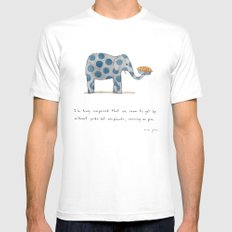 polka dot elephants serving us pie White MEDIUM Mens Fitted Tee