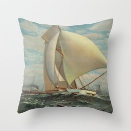 Vintage Painting of a Fast Sloop Sailboat (1895) Throw Pillow