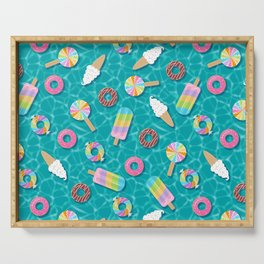 Sweet Treats Pool Floats Pattern – Turquoise Serving Tray