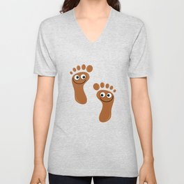 Brown Happy Feet Unisex V-Neck