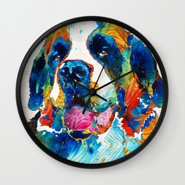 Colorful Saint Bernard Dog by Sharon Cummings Wall Clock