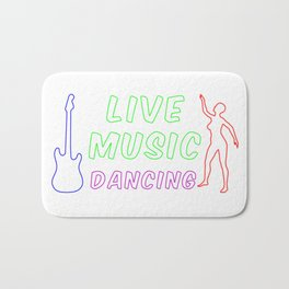 Live Music and Dancing Neon Sign Bath Mat