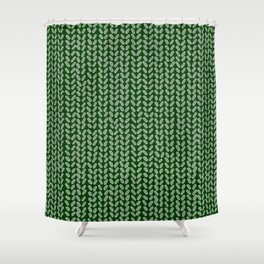 Forest Green Knit Shower Curtain