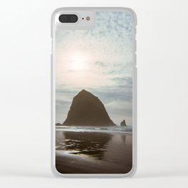 A Lonely Walk on Cannon Beach - Holga Film Photograph of Haystack Rock Clear iPhone Case