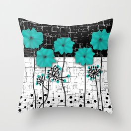 Turquoise flowers on black and white background . Throw Pillow