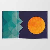 wave Area & Throw Rugs featuring The ocean, the sea, the wave - night scene by Picomodi